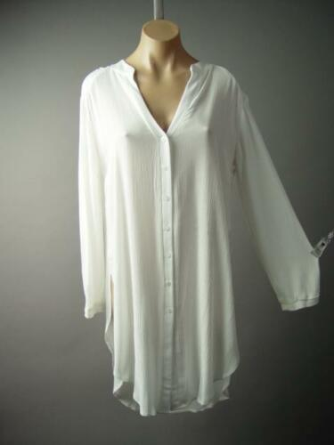 Minimalist White Split V Neck Stand Collar Women Shirt Dress 236 mv Tunic S M L