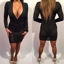 Connie's Black Mini Dress Sheer Deep V Plunge Neckline w/ built in Bodysuit XL