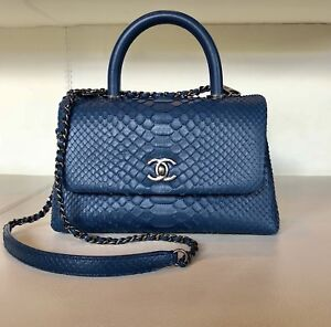 6fa5e13c8cf1 Image is loading CHANEL-Coco-Mini-Handle-Blue-Python-Handbag