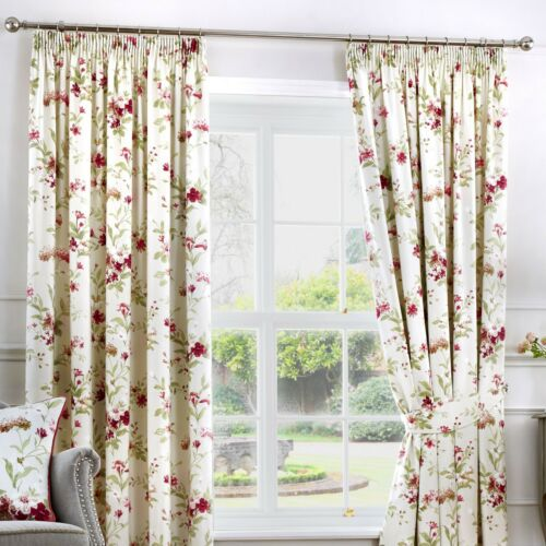 Fusion JEANNIE Red Floral Ready Made Pencil Pleat Curtains /& Cushions