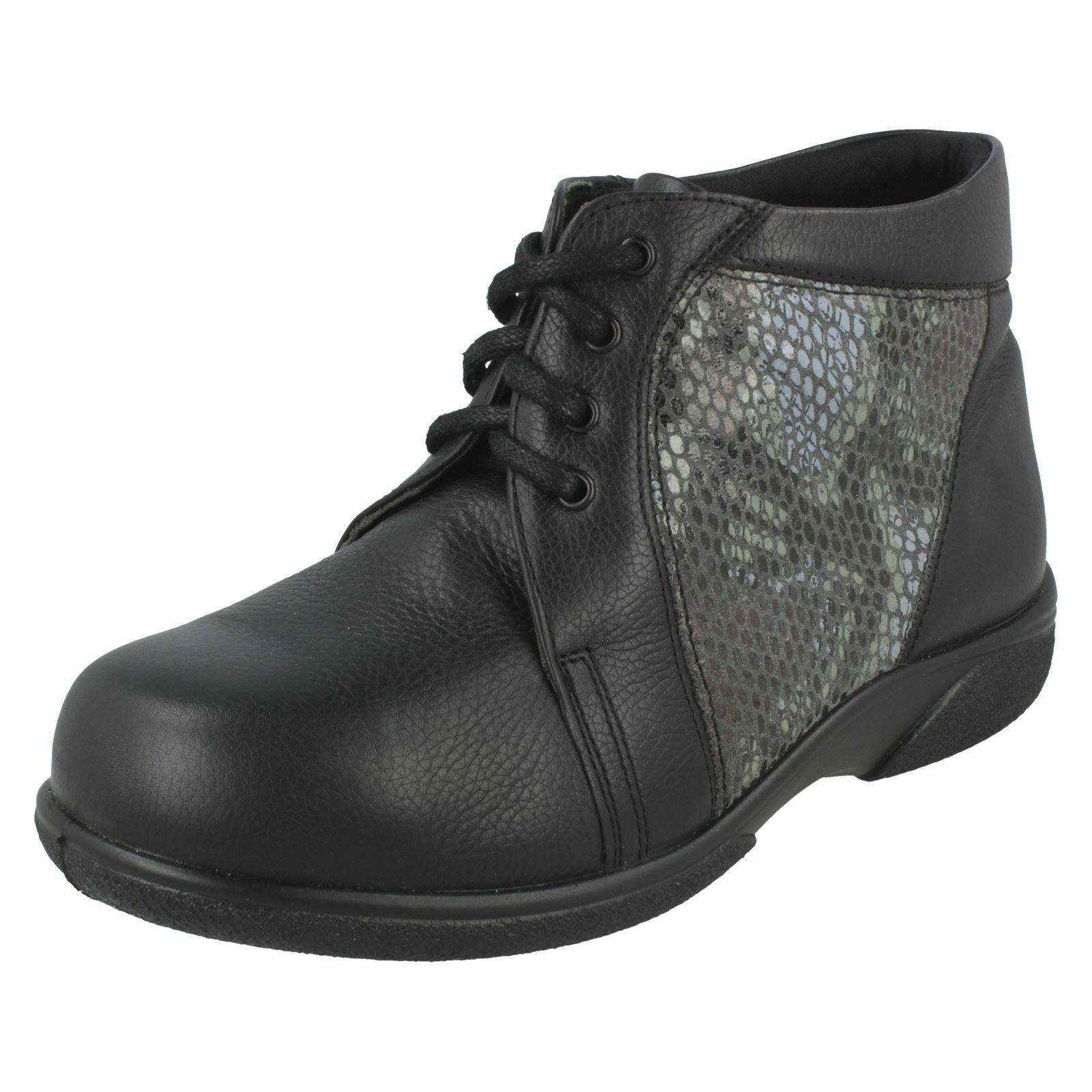 Ladies Easy B Casual Boots With Snake Skin Detail 'women'
