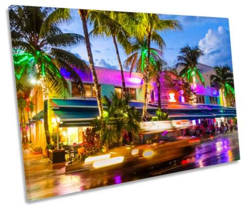 Miami Beach South Nightlife SINGLE CANVAS WALL ART Picture Print