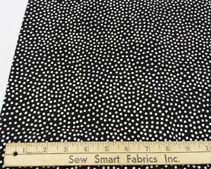 Polyester-Crepe-Lightweight-White-Dots-on-Black-45-034-w-3-yd-Piece