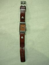LADIES DIESEL COPPER TONE FACE RECTANGULAR WRIST WATCH WITH LEATHER BAND DZ-1008