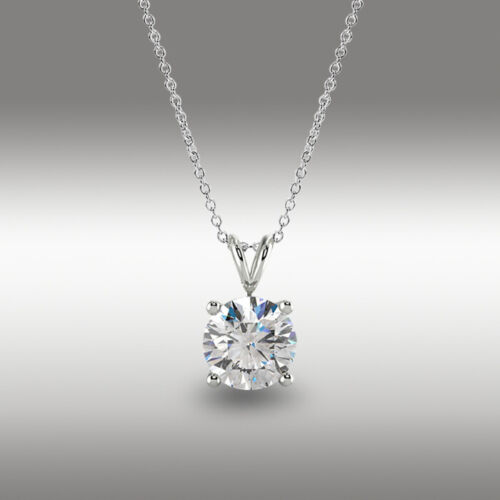 """2 Ct Round Cut Real Solid 18k White Gold Solitaire Pendant 18/"""" Necklace"""