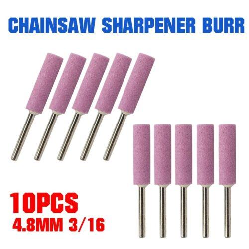 10x Chainsaw Sharpener Burr Grinding Stone 4.8mm 3//16 Chain Saw Sharpening Set