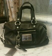 NWOT Coach Poppy Black Lurex Leather Duffle Satchel Shoulder Handbag Purse 15914