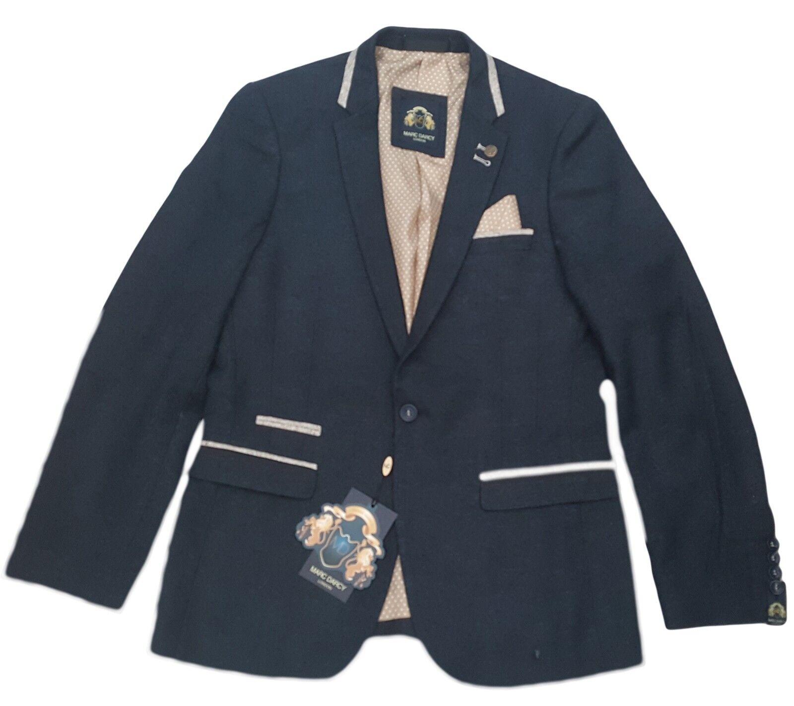 Herren Marc Darcy Mode Denim-Look Blazer-Stil Glen - dunkelblau