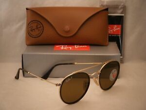 Ray Ban 3647N Round Double Bridge Gold w Brown Polar Lens (RB3647N ... 1333c80037