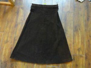 Genuine-Vintage-Ladies-Brown-A-Line-Corduroy-Skirt-Size-8