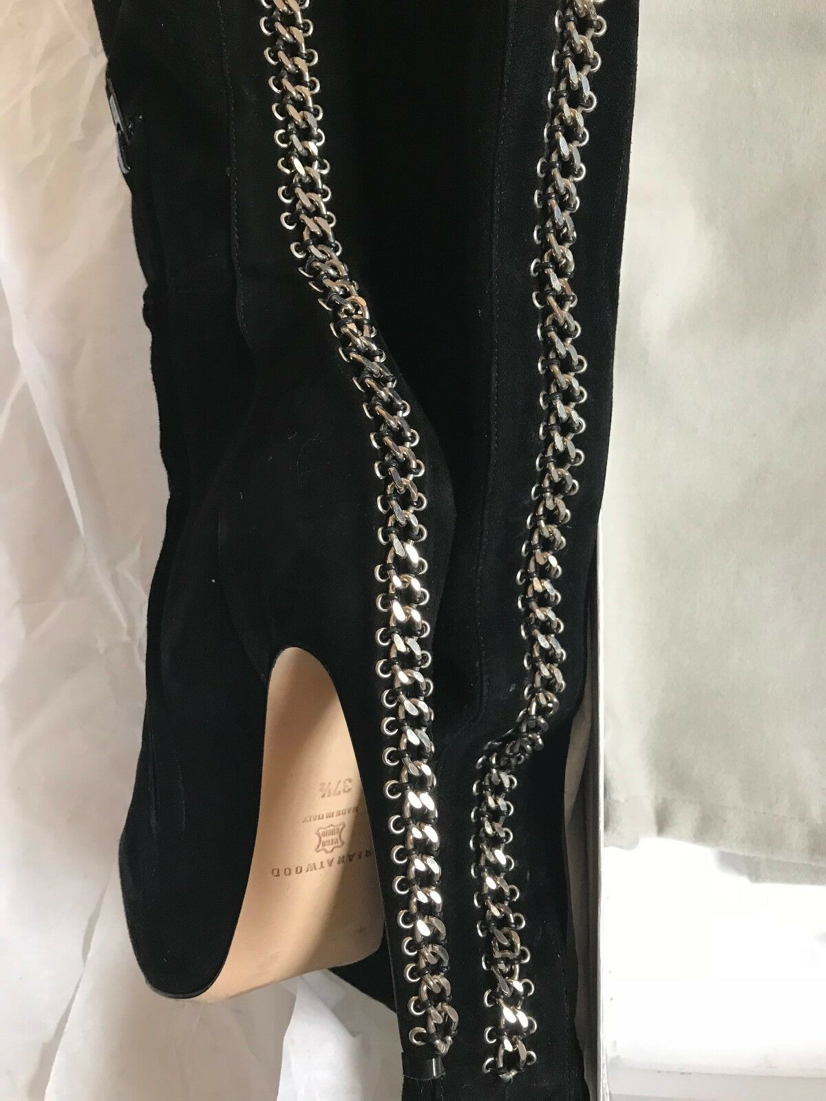 Brian Atwood Rachel Zoe Chain Back Back Back Over the Knee Boots Black Suede Size 37.5 1e09eb