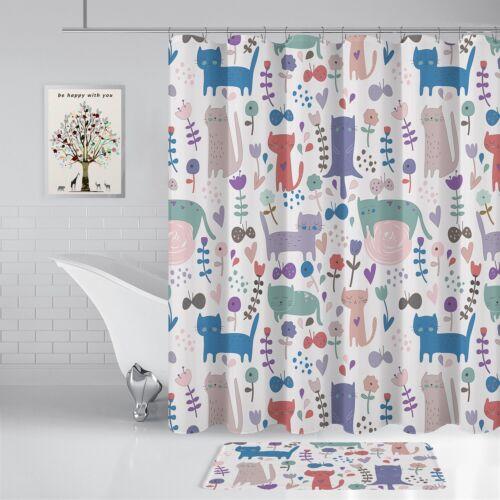 "Shower Curtain Cat Flowers Bathroom Decor Set 70/"" x 72/"" Waterproof 12 Hooks"