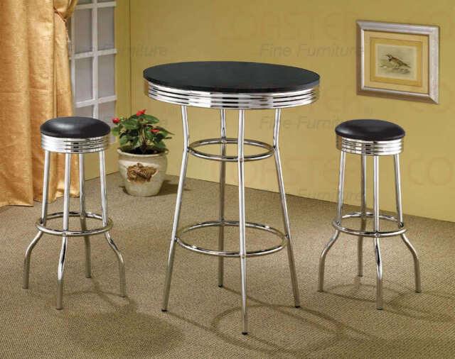 50 S Retro Black Bar Table And Swivel Stool Set By Coaster 2405 2408