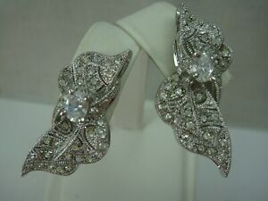 Nadri-Rhodium-Plated-Cz-Clear-Rhinestone-Bow-Clip-Earrings