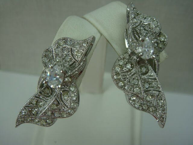 Nadri Rhodium Plated Cz Clear Rhinestone Bow Clip Earrings