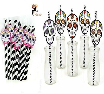 20x HALLOWEEN PAPER STRAWS Drinking Decoratio Day Of The Dead Strip Skull Party