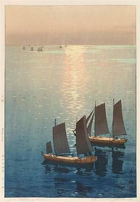 "HIROSHI YOSHIDA ""Glittering Sea"". Depicting two sailboats in the fore... Lot 483"