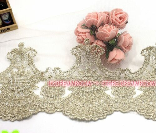 "BF58A 5.5/""*1yard Delicate Beige Embroidered tulle lace trim Handicrafts Sewing"
