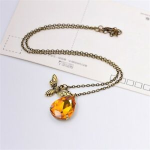 Women beauty crystal vintage bee pendant bumble bee fashion necklace image is loading women beauty crystal vintage bee pendant bumble bee aloadofball Gallery