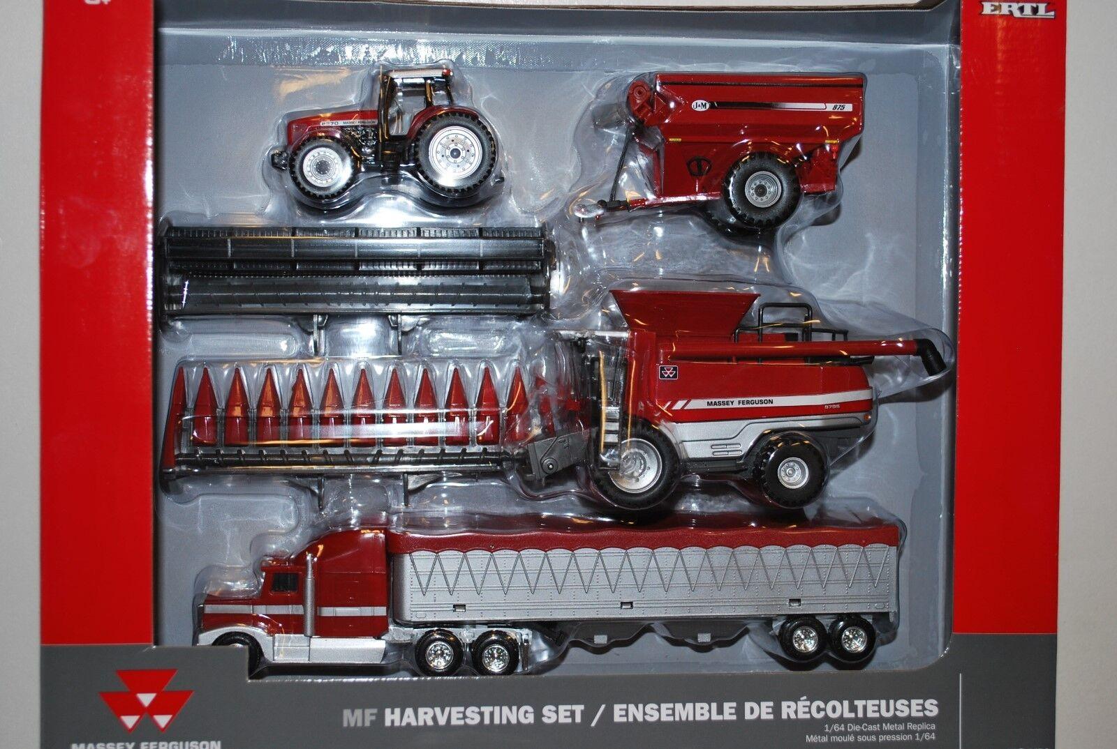 ¡Nuevo! 1/64 Massey Ferguson Cosecha Set 9795 Combina,8270 Tractor & Grano