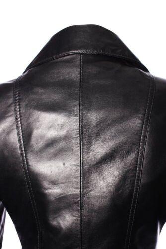 "/""femminile/"" Signore Nero Retrò Stile Biker Designer REAL LEATHER JACKET"