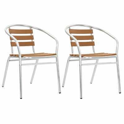 vidaXL 2x Chaises Empilables de Jardin Aluminium et WPC Argenté Extérieur   eBay