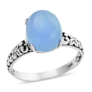 BALI LEGACY 925 Sterling Silver Blue Jade Solitaire Ring Jewelry Size 8 Ct 2.9
