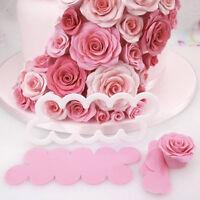 3x 3D Cake Rose Petal Flower Cutter Mold Fondant Icing Decorating Mould DIY Tool