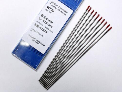 WOLFRAMELEKTRODEN WT20 rot Ø 2,4 mm WIG-Nadeln Wolframnadel Elektroden 10 Stk