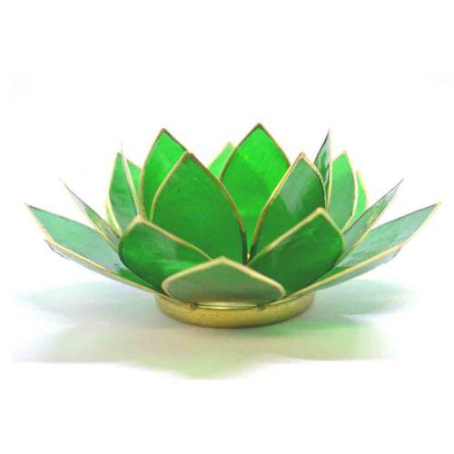Vert avec bordure dorée fleur de lotus 4th chakra tea light candle holder /& bougie