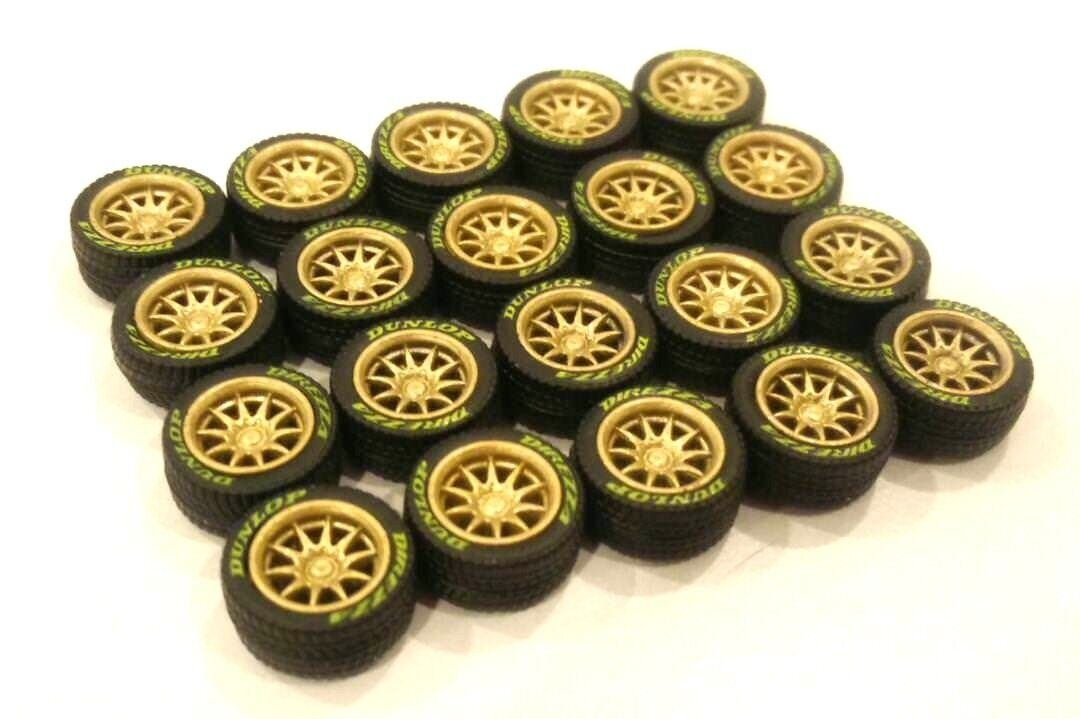 1 64 rubber tires & rims -  CE28 fit Kyosho Hot Wheels Nissan diecast - 5 sets