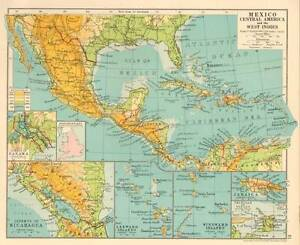 Mexico Central America The West Indies 1930 Original Antique Map