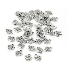 """Lot 50 Silver Plated MADE WITH LOVE Heart Charms 0.35"""" HOT DT"""
