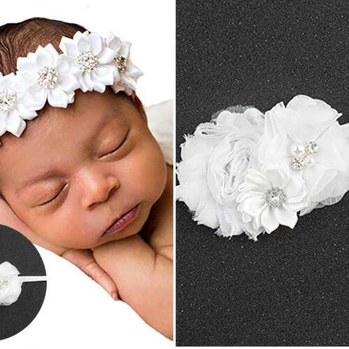 Kleinkind-Baby-Imitat-Blumen-Perlen-Taufe-Stirnband-elastischer Kopfschmuck New