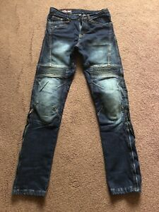 Mens-Motorcycle-Denim-Jeans-32R-Excellent-Condition-Removable-Armour