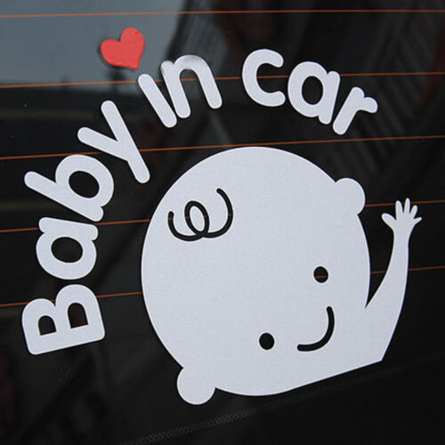 """/""""Baby In Car/"""" Waving Baby on Board Safety Sign Car Decal Vinyl Sticker X2"""