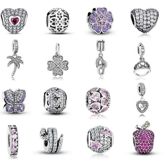 Genuine 925 Sterling Silver CZ Charm Pendant Beads Fit Necklace Bracelet