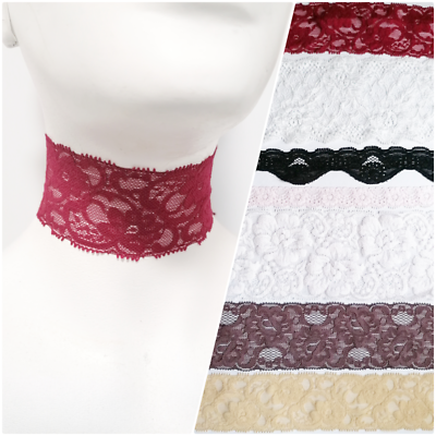 COTTON LACE tattoo floral wide statement vintage party Collar Choker Necklace UK