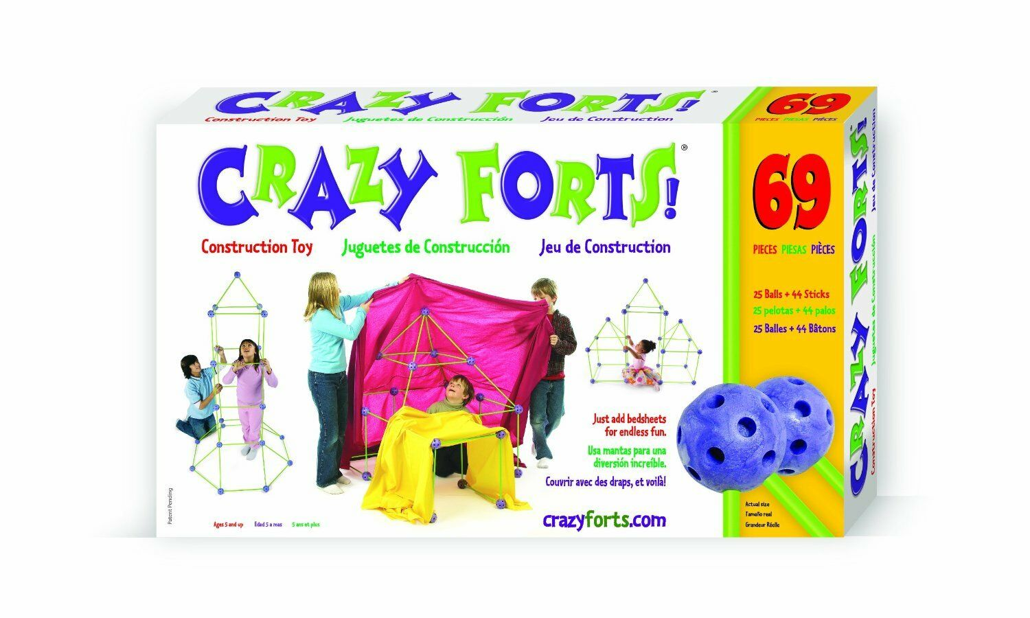 Crazy Forts 69 Piece Set Original Building Set Easy to Build Tents Caves