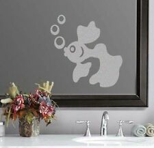 """Goldfish Design Bathroom Frosted Etched Glass Vinyl Sticker Decal 6""""h x 6""""w"""