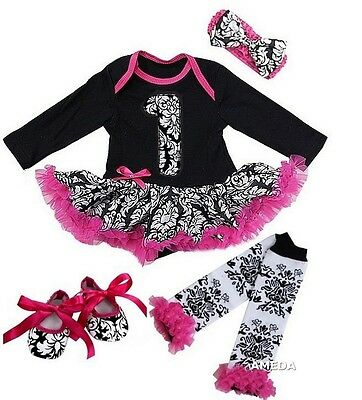 Birthday Baby 1st Damask Long Sleeve Bodysuit Tutu Leg Warmer Shoes Set