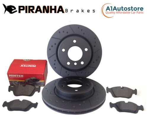 Chrysler 300C 5.7 V8 05-07 Front Brake Discs Pads Coated Black Dimpled Grooved
