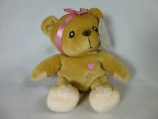 """Cherished Teddies retired plush AVA 7"""" brown teddy bear with pink bow with tag"""