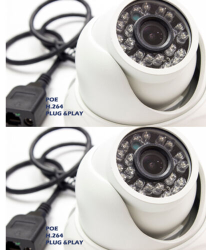 2x Microseven IP Dome Camera Outdoor P2P H.264 Onvif IP66 IR 2.8mm POE package
