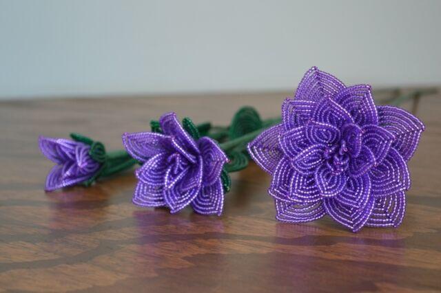 3 handmade French beaded Flowers dark lilac purple rose roses glass beads