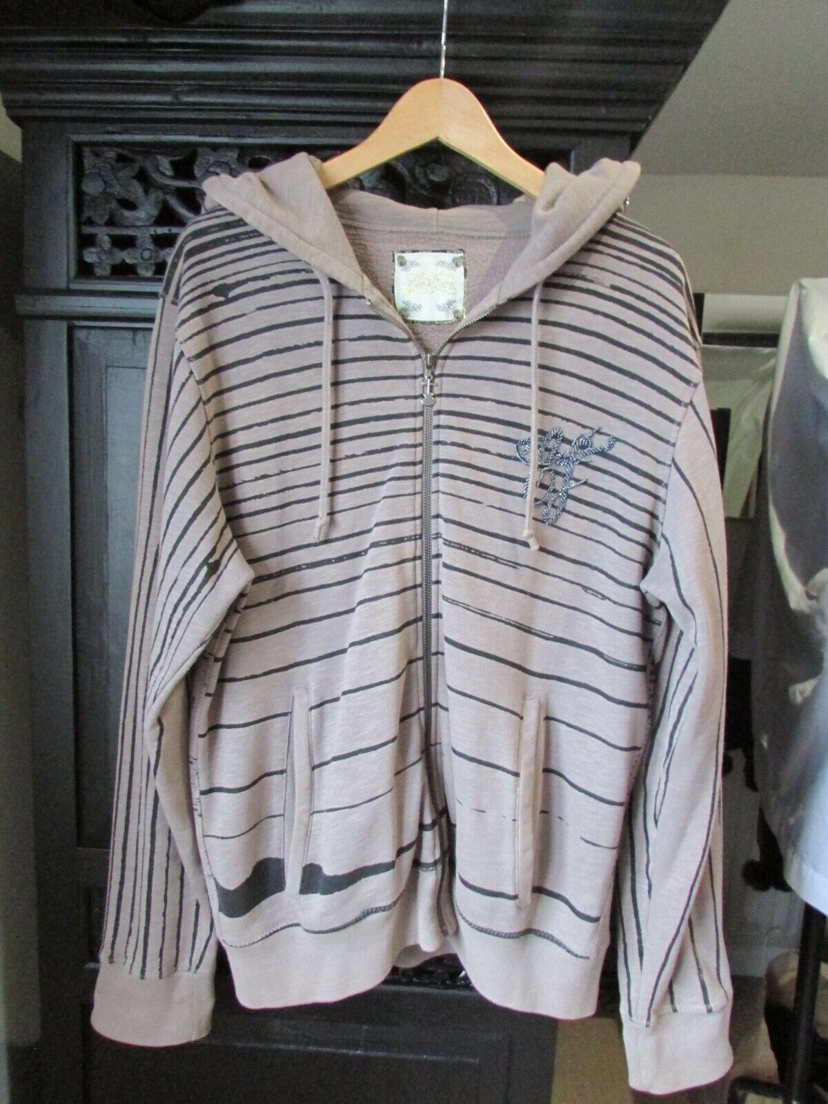 Elvis Jesus detailed Taupe/Grey Hoodie Size XL **EXCELLENT CONDITION**