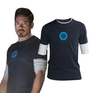 Iron Man 3 Tony Stark Arc Reactor Luminous Night Short Sleeve TShirt Cos Custume