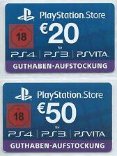 2 Guthaben-Karten PlayStation Store für Erwachsene 20 + 50 Euro (ohne Guthaben)