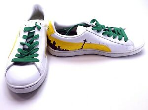 low priced df86c 3d311 Details about Puma Shoes Basket 70's Champs White/Yellow/Green Sneakers  Size 8