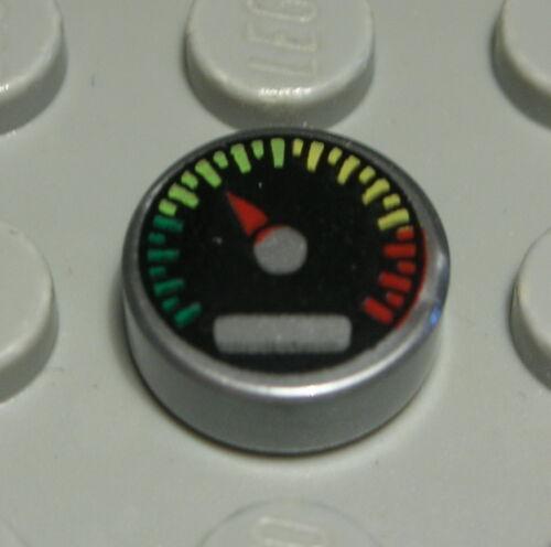 Kachel rund 1x1 Siber bedruckt mit Tachometer 2 Stück Lego Fliese 1610 A